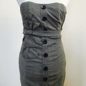 Florets grey & turquoise plaid strapless dress